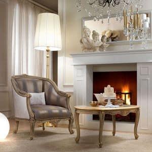 Belle Epoque 487 Sessel, Eleganter Sessel mit einem klassischen Design, von Hand geschnitzten Holz, für Aufenthaltsräume und Hotels