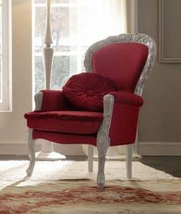 Belvedere 301 Sessel, Elegante handgeschnitzten Sessel, mit kostbaren Stoffen gepolstert
