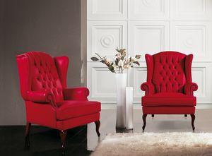 Big Ben, Klassischer Sessel mit hoher Rückenlehne aus Capitonnè