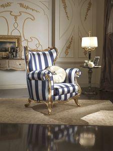 Borromini Sessel, Bergere Sessel mit Seidenstoff bezogen