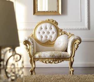 Doroteo 483 Sessel, Luxuriöse handgeschnitzten Sessel, getufteten Rückenlehne mit Stoff bezogen, Gold-Finish
