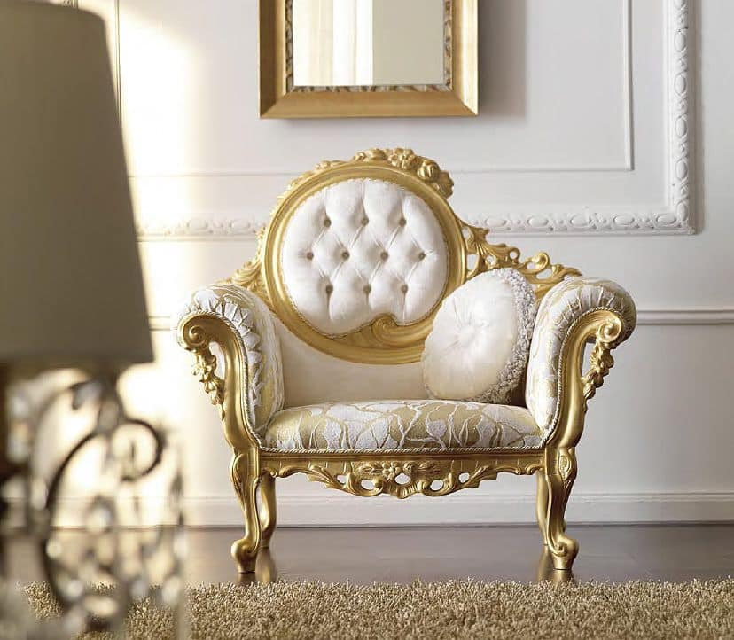 luxuri se handgeschnitzten sessel getufteten r ckenlehne. Black Bedroom Furniture Sets. Home Design Ideas