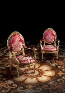 F349, Sessel im luxuriösen klassischen Stil, aus Holz, für Hall Hotel