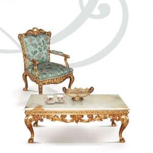 F757, Sessel in handgeschnitzte Holz, Blattgold Oberflächen