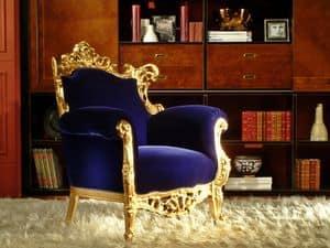 Finlandia Goldgewebe, Luxus-Sessel, Blattgold Finish, von Handwerkern geschnitzt
