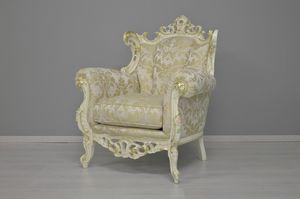 Finlandia Stoff Sessel, Geschnitzter Sessel, mit kostbaren Stoffen bedeckt
