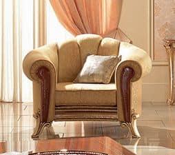 Giotto sessel, Sessel mit Lederarmlehnen dekoriert, klassischen Luxus