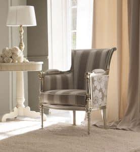 Kelly 404 Sessel, Luxus-Sessel, in Buchenholz von Hand geschnitzt, für High-Class-Wohnzimmer