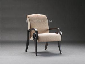 Mira, Klassischer Sessel aus Holz und Stoff