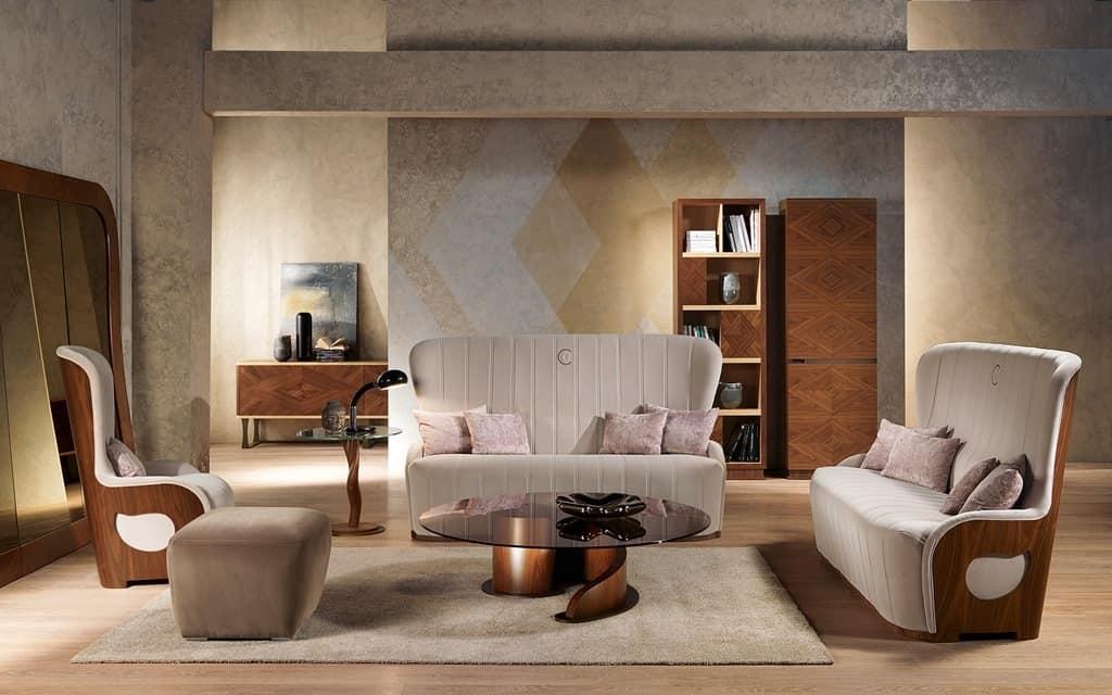 PO62 Galileo, Gepolsterte Sessel In Nussbaum Für Zeitgenössische Klassiker  Wohnzimmer