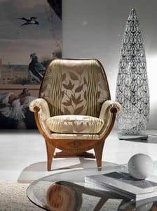 PO19 Confort, Polstersessel, Stoff mit Blumenschmuck, klassischen Luxus