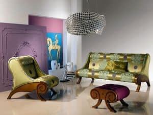 PO21 Glamour, Sessel mit Hocker, eingelegt, klassisch, für Hall Hotel