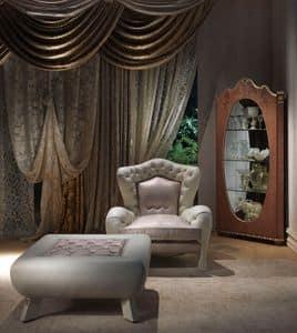 PO46 Vanity, Sessel im antiken Stil, aufgefüllt, gesteppt, um Hotels