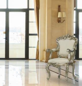 Putto velvet, Sessel aus massivem Buchenholz geschnitzt
