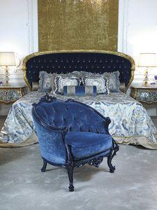 Sessel 3698, Klassischer Sessel in blauem Samt