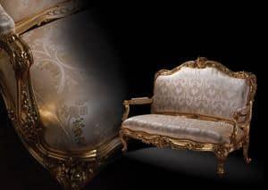 1008 Sofa, Sofa im klassischen Stil, mit Holz goldenen Rahmen