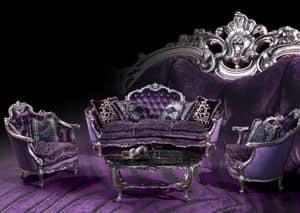 220 Sofa, Sofa mit Silber Veredelungen, im Stil Louis XV