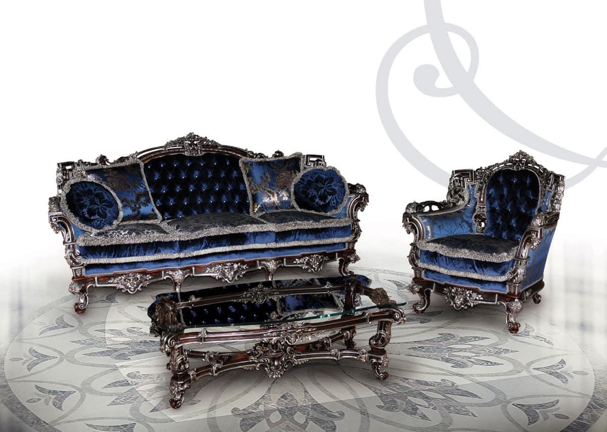 255 Sofa, Gesteppt gepolstertes Sofa mit 3 Plätze, zum klassischen Wohnzimmer