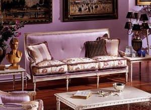 3325 DIVANO, 3-Sitzer Sofa im Stil Louis XVI, lackiert und geschnitzt