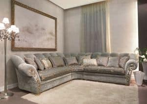 Althea, Winkel klassischen Sofa, Armlehne mit Handschnitzen