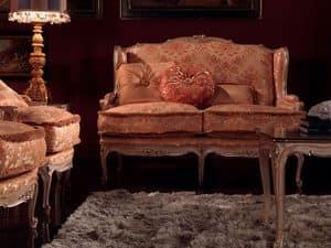 Anna Sofa, Gepolstertes Sofa, lackiert, Blattsilber Dekorationen
