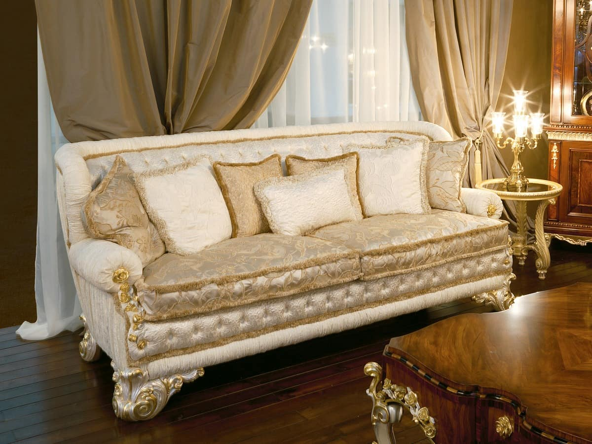 luxus sofa bedeckt in seide gesteppte r ckenlehne idfdesign. Black Bedroom Furniture Sets. Home Design Ideas