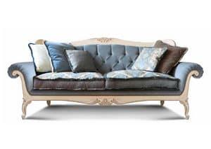 Art. 1060, Luxus-Sofa, mit handgeschnitzten Details, getuftete Rückenlehne, für Wohnzimmer und Hotels