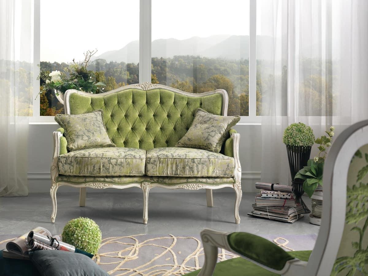 Sofa mit Rücken getuftet, in eingelegtem Holz | IDFdesign