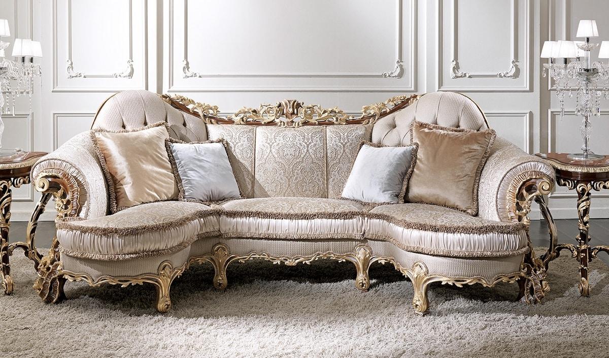 ART. 3012, Klassisches Sofa mit Gold Decapé-Finish