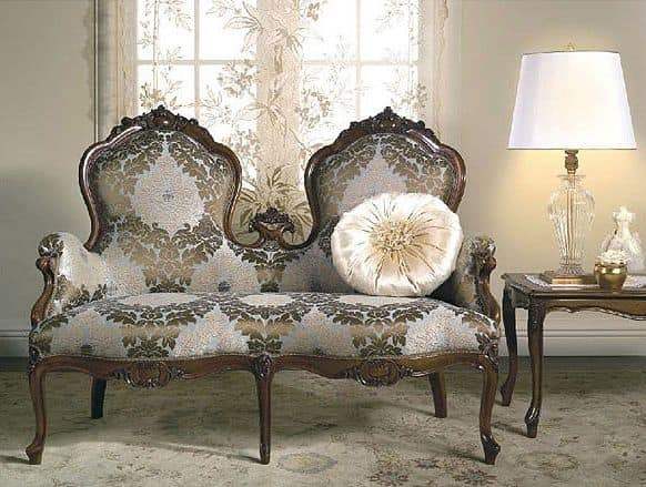 Art. CA62 Carlotta, Klassisches Sofa, reproduziert historische Modelle, um dem XIX Jahrhundert berichtet,