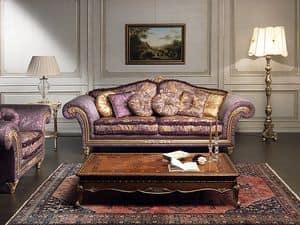 Art. IM 23 Imperial, Luxus-Sofa, gekennzeichnet durch Handarbeit geschnitzt Formteile mit baroqe und Blattgold