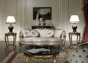 Art. VE/203 Sofa Venezia, Luxus-Sofa, Louis XV-Stil, mit kostbaren Schnitzereien