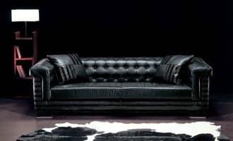 Vollnarbenleder Sofa Gesteppte Rückenlehne Idfdesign
