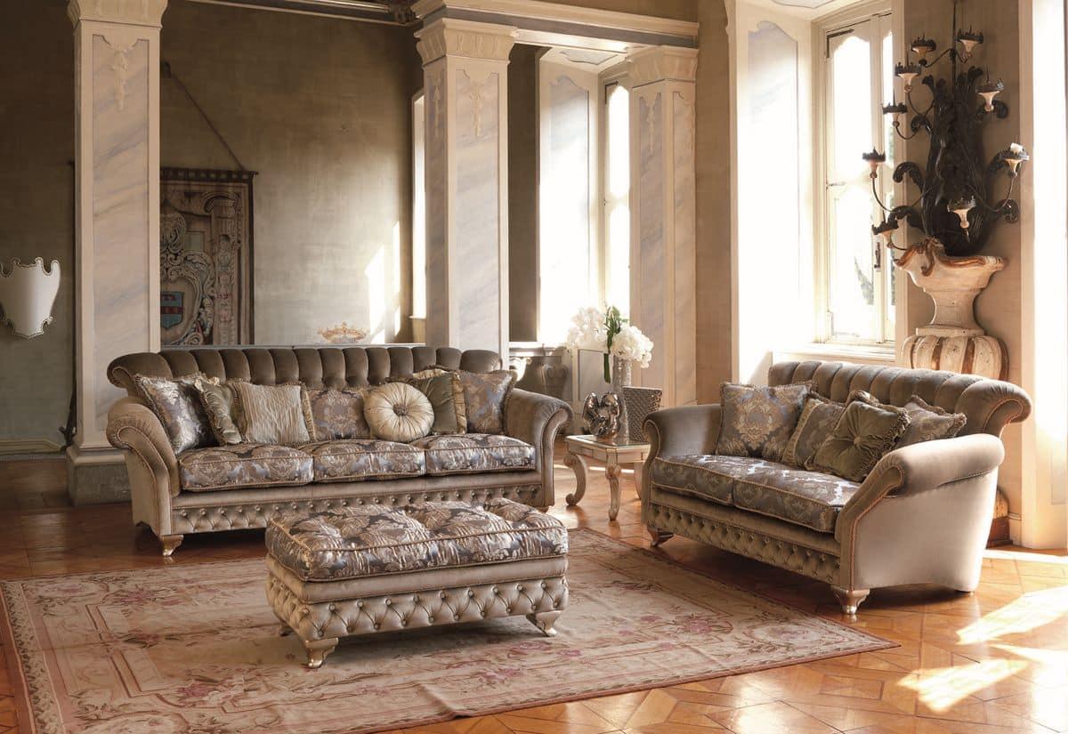 3 sitzer sofa f r klassische wohnzimmer blattsilber oberfl chen idfdesign - Klassische wohnzimmer ...