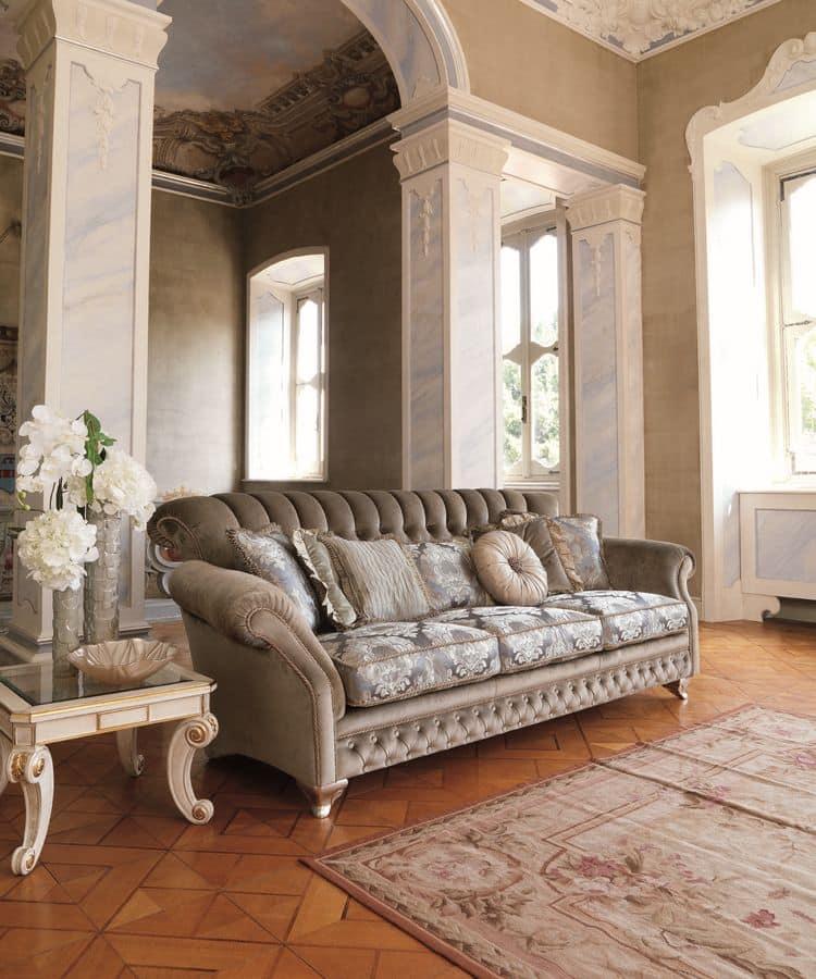 Astrid, 3-Sitzer-Sofa für klassische Wohnzimmer, Blattsilber Oberflächen