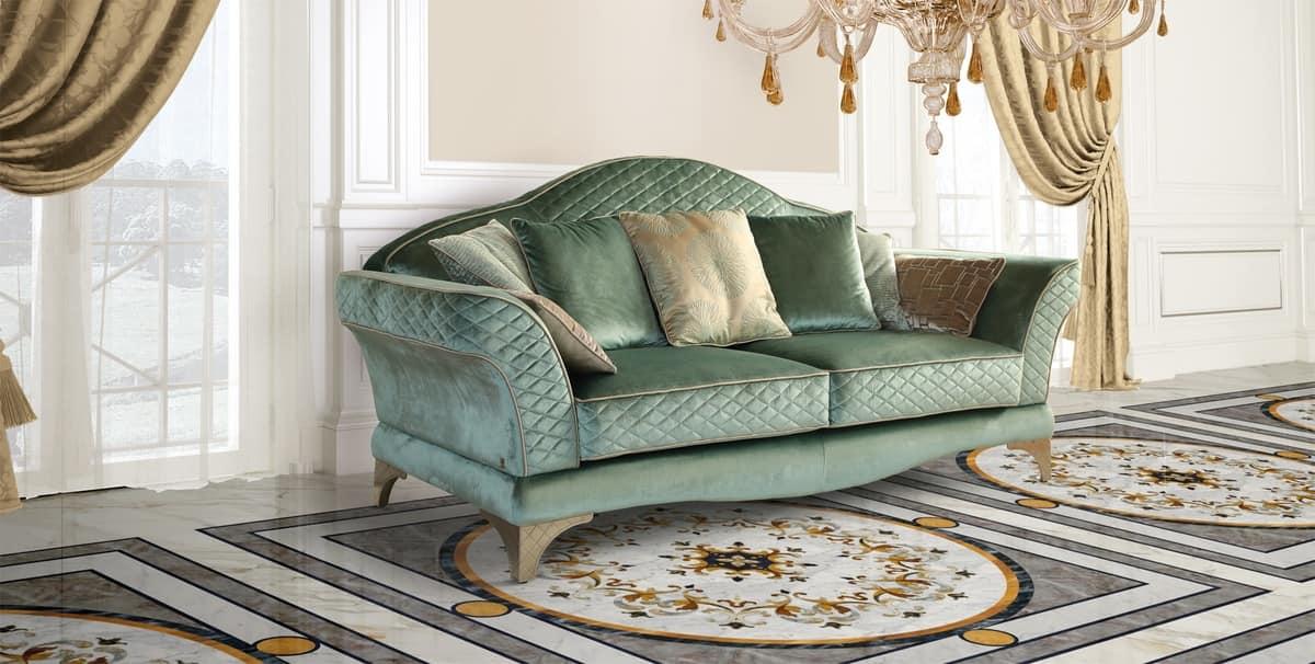 Luxus-Sofa, Klassischer Stil, Feinen Grünen Stoff