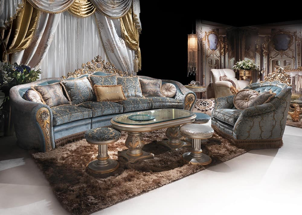 hand dekoriert sofa f r klassische luxus wohnzimmer idfdesign. Black Bedroom Furniture Sets. Home Design Ideas