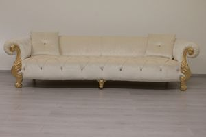 Oceano panna, Sofa mit gesteppter Polsterung, Barock