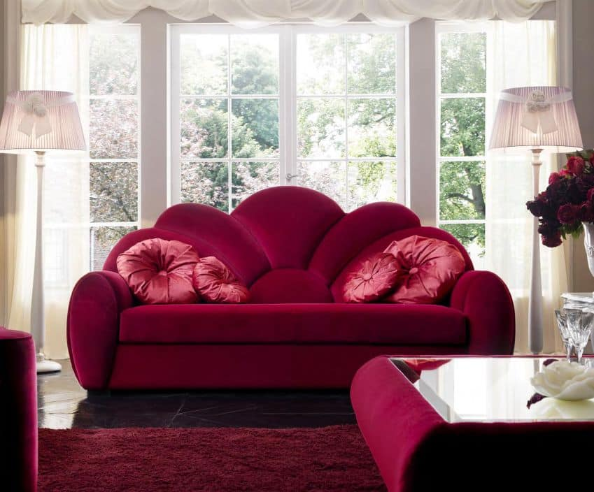 drei sofa in stoff bezogen f r repr sentative wohnzimmer. Black Bedroom Furniture Sets. Home Design Ideas