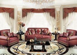 Decò, Klassische Luxus-Sofa für Wohnzimmer, mit 3 Sitze