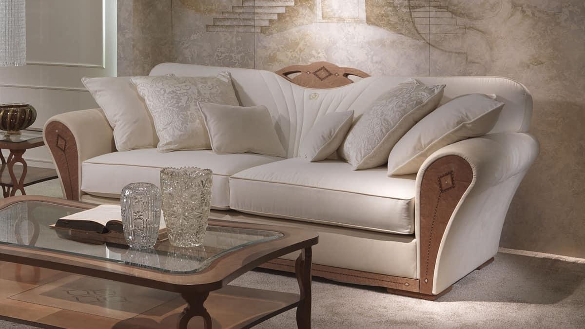 DI36 Charme, Overstuffed Sofa aus Holz für Luxus-Wohnzimmer