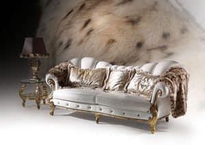Diamond Cinque, Sofa mit Blattgold Oberflächen, Luxus klassischen Stil