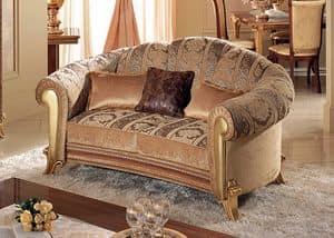 Giotto Sofa, Sofa mit weichen Kurven, mit goldenen Haut