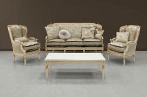 Guttuso sofa, Luxus-Sofa weiß mit goldenen Ornamenten bemalt