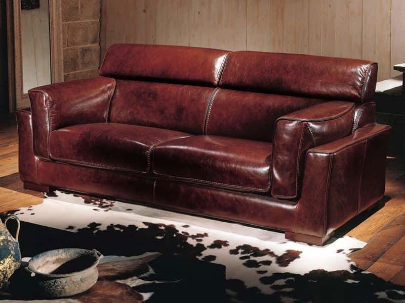 sofa bett in leder bezogen im klassischen stil idfdesign. Black Bedroom Furniture Sets. Home Design Ideas