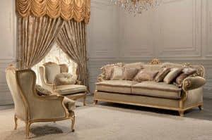 Luxury, 2 Sitze klassisches Sofa, Blattgold Finish, für Wohnzimmer