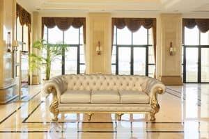 Manchester klassisches Leder, Sofa mit hoher handwerklicher Qualität, handgeschnitzt