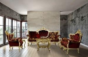 Maria Stoff Wohnzimmer, Hand geschnitzte Sofa mit feinen Stoffen gepolstert
