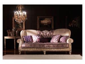 Marina, Klassisches Sofa, gepolstert, in Seide überzogen, für Wohnzimmer