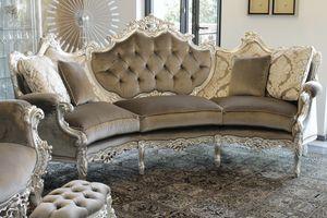 Marsiglia Samt, Geschwungenen Sofa im Barockstil, in geschnitzt Buche